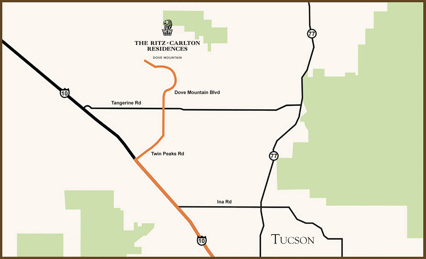 Turn by turn driving directions from Tucson to our luxury Dove Mountain real estate community located in Marana, Arizona.