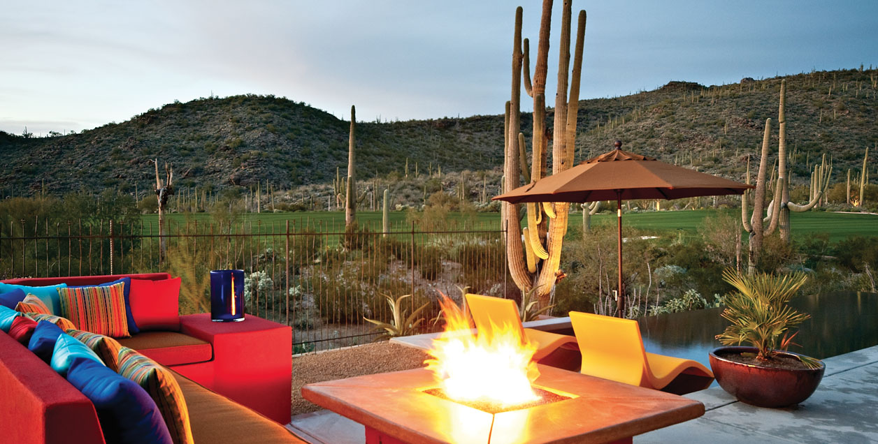 Dove Mountain home at The Residences, outdoor firepit.