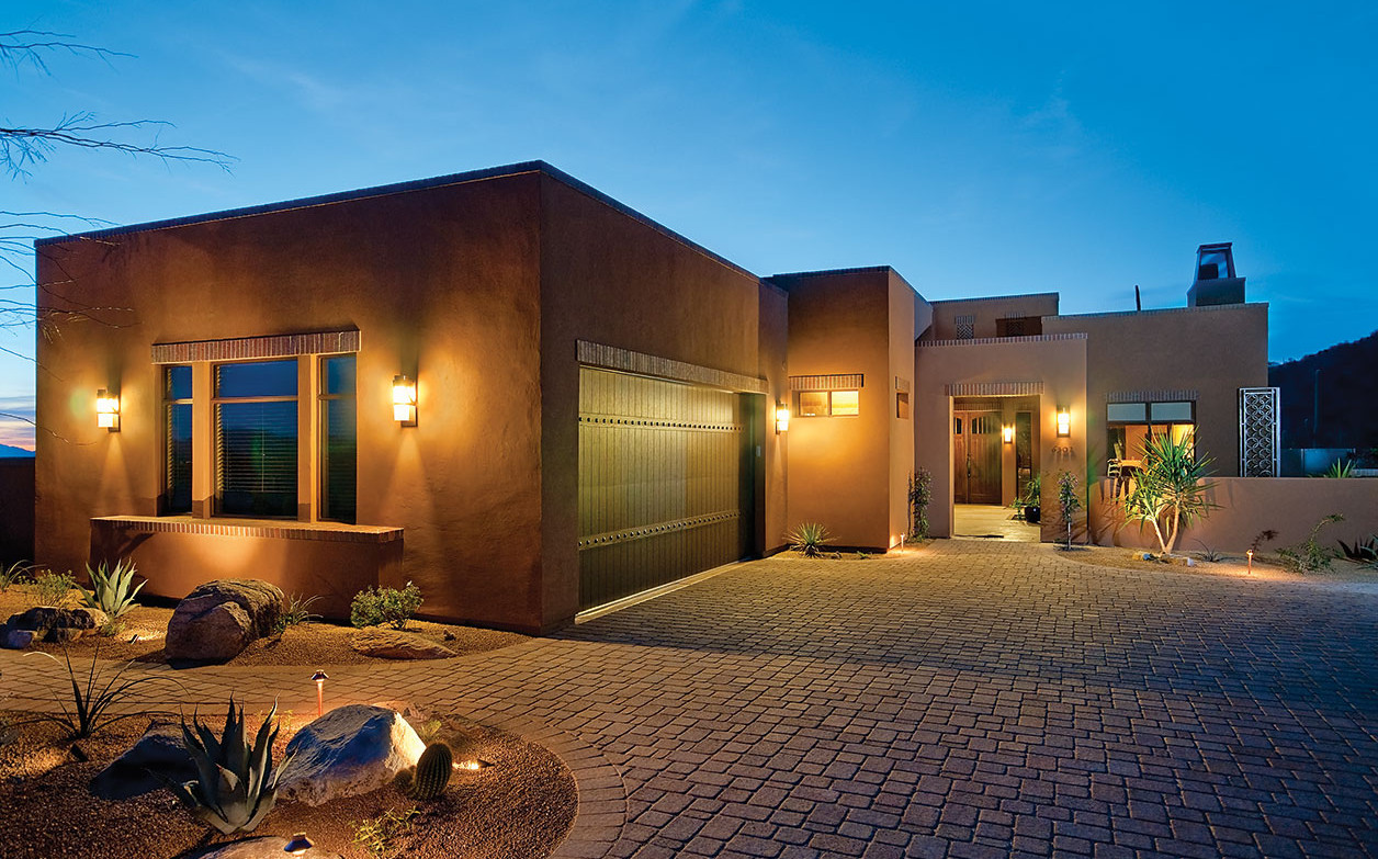 View of exterior garage and luxury home at The Ritz-Carlton Residences, Dove Mountain.