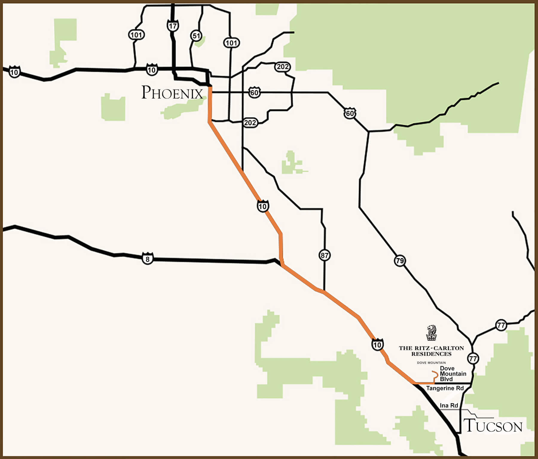 Turn by turn driving directions from Phoenix to our luxury Dove Mountain real estate community located in Marana, Arizona.