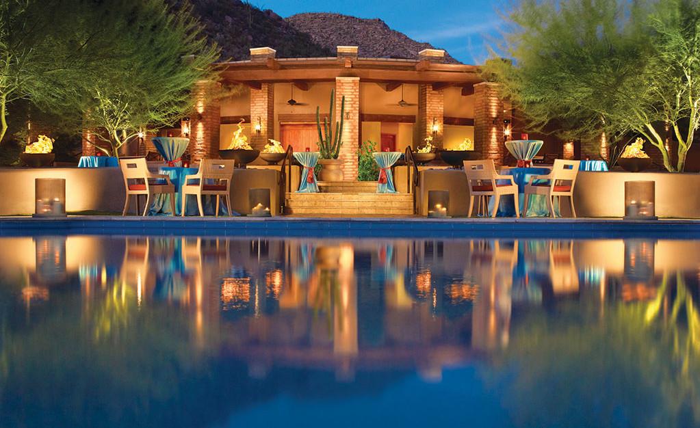 Pool reflections at The Ritz-Carlton Resort located in Dove Mountain, Marana.