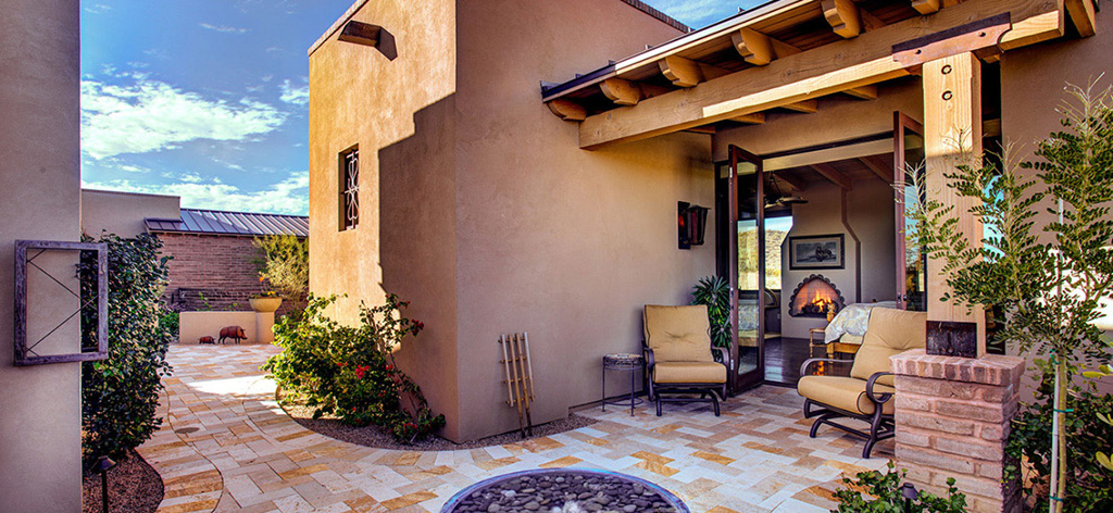 Courtyard view. Our Dove Mountain luxury homes blur the distinction between indoors and out, inviting the outside in.