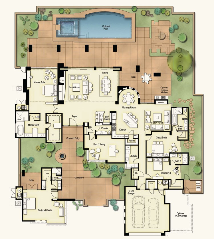 Tucson custom home floor plans for Custom home building plans